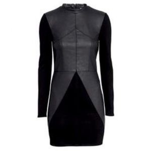 Black Faux Leather Dress with Mock Neck